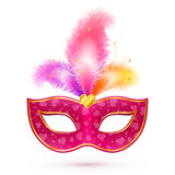 Pink carnival mask with feathers Stock Photography