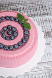 Pink carrot chocolate velour mousse cake with blueberry Royalty Free Stock Photography