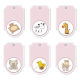 Pink cartoon animals labels set Stock Photo