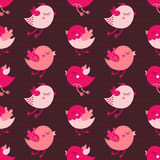 Pink cartoon birds seamless vector pattern on dark background Stock Images
