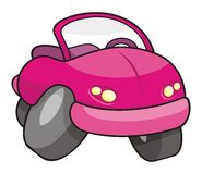 Pink cartoon car Stock Photos