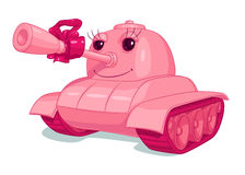 Pink cartoon cheerful tank with a smile, eyes and red bow on the trunk Stock Images