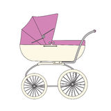 Pink cartoon children's stroller Stock Photo