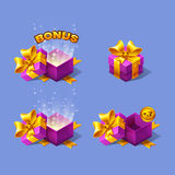 Pink cartoon colorful isometric gift boxes set with bonus. Stock Photo