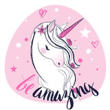 Pink cartoon fairytale unicorn. With stars and letters Stock Photography