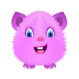 Pink cartoon fluffy monster. Vector illustration Stock Photos