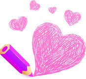 Pink cartoon pencil with doodle heart Royalty Free Stock Image