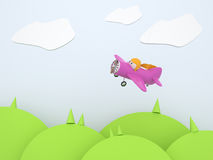 Pink cartoon plane. Flying over the landscape Royalty Free Stock Photos