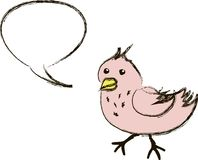 Pink cartoon tweeting bird Stock Images