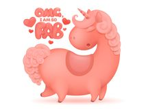 Pink cartoon unicorn character with curly mane and tail. T-short design  template Royalty Free Stock Photography