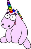 Pink cartoon unicorn seat. Rainbow horn and mane. Vector image Royalty Free Stock Photos