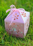 Pink carved gift box on green grass. Hand made gift box with ribbon bow on the green background Royalty Free Stock Photography