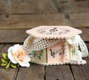 Pink casket handmade decoupage Stock Images