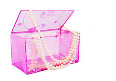 Pink casket and pearl beads Royalty Free Stock Image