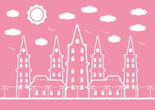 Pink castle in city with birds and sun cloud for background. Vector illustration Stock Images