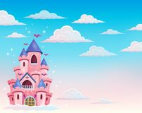 Pink castle in clouds theme 1 Royalty Free Stock Photography