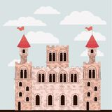 Pink castle of fairy tales with colorful sky background. Vector illustration Royalty Free Stock Photo