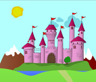 Fantasy Pink Castle. In a kingdom far away there is a beautiful castle on a hill. It is surrounded by a moat and accessible by a bridge. The flags in the wind Stock Images