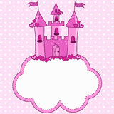 Pink castle for a princess on a cloud Stock Images