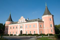 Castle Bezdez, in central Bohemia, Czech republic. Pink castle in town Sokolov, western Bohemia, Czech republic, Europa Stock Photo