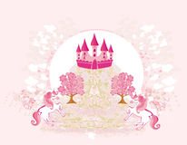 Pink castle and unicorns Royalty Free Stock Photos