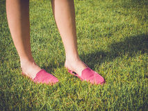 Pink casual shoes on girl Royalty Free Stock Photos