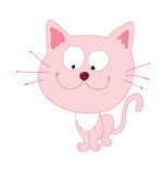 Pink_cat. Cute pink cat with smile Royalty Free Illustration