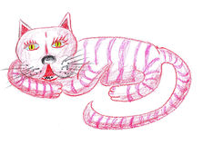 Pink cat illustration Royalty Free Stock Images