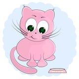 Pink cat and milk. cartoon vector illustration. Pink cat and milk. cartoon cute vector illustration vector illustration