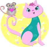 Pink Cat with Mouse Heart Stock Photography