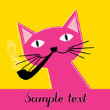 Pink cat with pipe Stock Photography