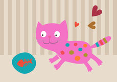 Pink Cat with plate with fish skeleton. Card Pink Cat with plate with fish skeleton Stock Photography
