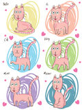 Pink Cat Set_eps Stock Images