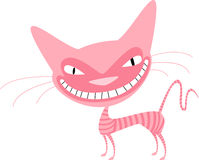 Pink cat with stripes. Naughty pink striped cat with a big smile Royalty Free Stock Images