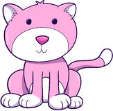 Pink Cat Vector. Pink Cat Kitten Vector Illustration Stock Image