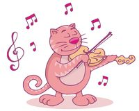Pink cat with violin. Cat playing the violin funny cartoon illustration Stock Photography