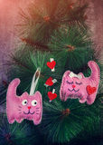 Pink cats in love Stock Photography