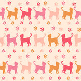 Pink cats and traces silhouette seamless pattern. Colorful cats and traces silhouette seamless pattern.  Colorful cats pattern on a pink  background Royalty Free Stock Images