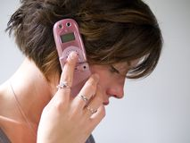 Pink Cell Phone Stock Photo
