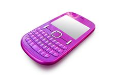 Pink cell phone. Stylish pink fuchsia cell phone Royalty Free Stock Image