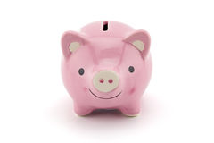 pink ceramic piggy bank isolated on white background. Stock Photos