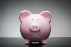 Pink ceramic piggy bank Royalty Free Stock Photography