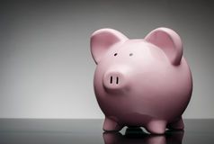 Pink ceramic piggy bank Stock Photos