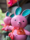 Pink Ceramic Rabbit Closeup Stock Images