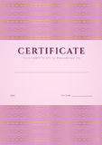 Pink Certificate, Diploma template. Pattern Royalty Free Stock Photos