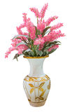 Pink Chainese Wool flower in vase isolated Royalty Free Stock Images