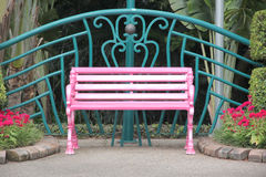 Pink Chair In The Park. Stock Photos