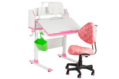 Pink chair, pink school desk, green basket and desk lamp Royalty Free Stock Photos