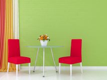 Pink chairs against the green wall Stock Images