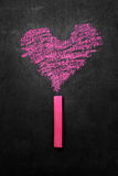 Pink chalk drawing heart shape Stock Images